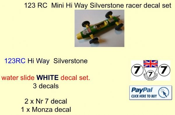 123 Tri-ang RC  Mini Hi Way Silverstone racer decal set